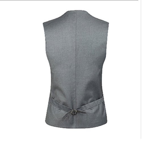Moda Gray suave Tops Zhhlaixing Soft Mens Blazer Suit Formal Sleeveless Double Vest Breasted q7xwdH5z