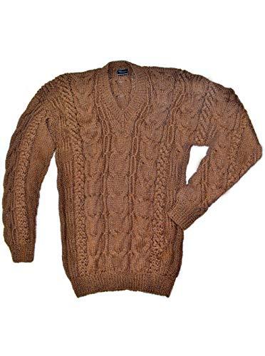 Gamboa Hand Woven Warm Brown Alpaca Sweater for Men (X-Large)