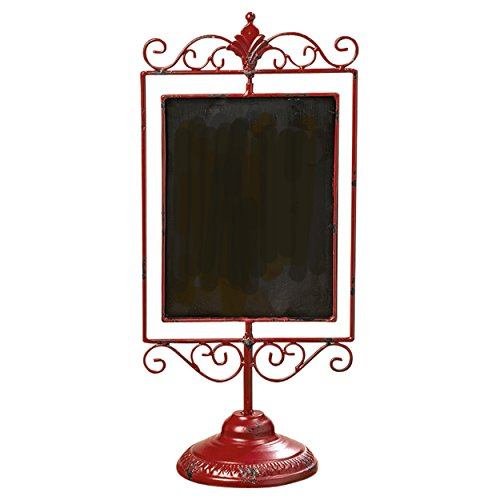 The Rustic Red French Country Style Chalkboard, Pedestal Stand, Chippy Enamel, Decorative Scrollwork, 19 3/4 Inches Tall, By Whole House Worlds