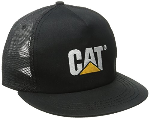 caterpillar-mens-flat-bill-trucker-cap-black-one