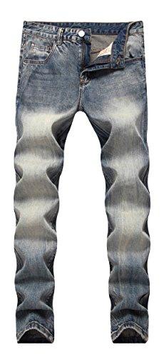 Middle Elastic Waist (FREDD MARSHALL Men's Vintage Retro Slim Fit Middle Waist Straight Leg Fashion Denim Jeans)