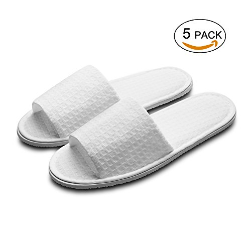 echoapple 10 Pairs of Waffle Open Toe White Slippers-One Size Fit Most Men and Women for Spa, Party Guest, Hotel and Travel(Medium, White-5 Pairs) by echoapple