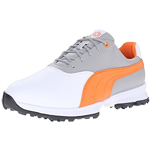 PUMA Men's Biodrive Golf Shoe, Tradewinds/White/Vibrant Orange, 8.5 M US
