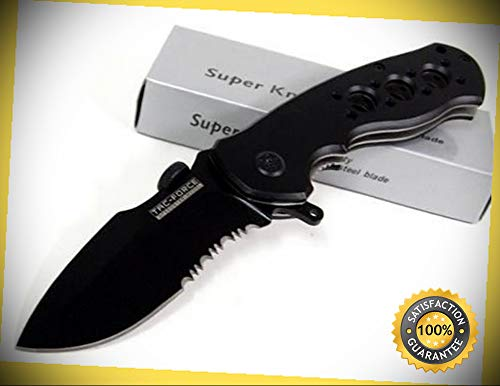 Tactical Black Assisted Serrated Folder Grooved Pocket Sharp Knife Combat Tactical Knife by KARPP