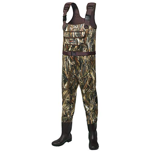 Hisea Basics Neoprene Chest Waders Duck Hunting Bootfoot Waders for Men with Boots Waterproof Camo Fishing Waders