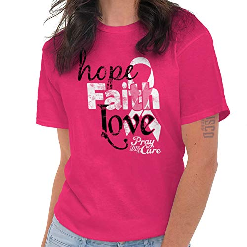 Hope Faith Love Breast Cancer Awareness T Shirt Tee