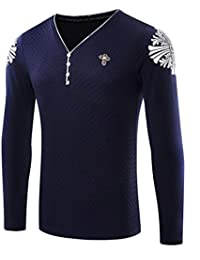 OULIU Mens Casual Dress V-neck Button Slim Fit Long Sleeve T-Shirt