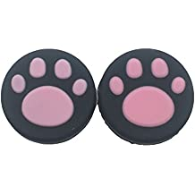 2PCS Silicone Analog Controller Thumb Stick Grips Cap For Nintendo Switch NS Controller Joy-Con ThumbStick(2 PCS Pink Cute Cat Paw Claw)