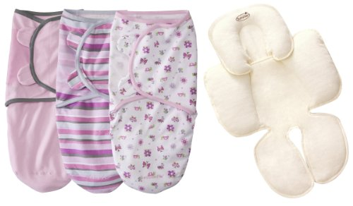 Summer Infant SwaddleMe Cotton Small/Medium 3-Pack with Terry Snuzzler Head & Body Support, Bug