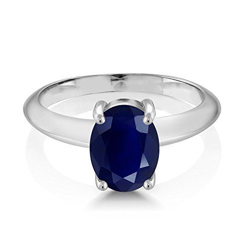 Gem Stone King 925 Sterling Silver Blue Sapphire Women s Solitaire Ring 2.50 Ct Oval Gemstone Birthstone Available 5,6,7,8,9