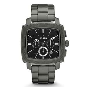 Fossil Machine FS4719 - Reloj cronógrafo de cuarzo para hombre, correa de acero inoxidable chapado color gris (cronómetro)