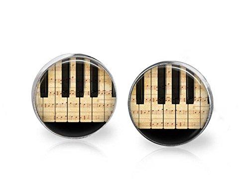 Piano stud earrings, Piano earrings, music earrings, music gift, Piano Keyboard earrings, Black and White earrings, Piano post - Posts Black Piano