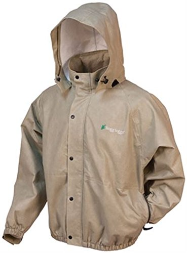 Frogg Toggs Men's Classic Pro Action Waterproof Rain Jacket with Pockets, Khaki, Medium