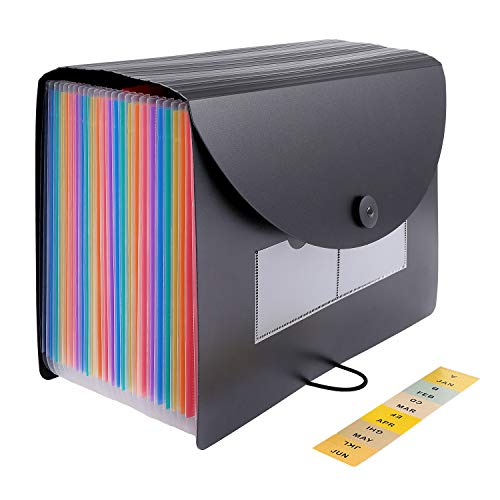 24 Pockets Expanding File Folder with Expandable Cover,Standing Document Organizer,Rainbow Filing Box,Desktop Plastic Folder Organizer with 2 Pack Labels(A4/Letter Size)