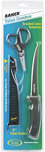 Baker BFK6-BSS 6-Inch Stainless Steel Fillet Knife & Braided Line Scissors Combo