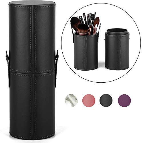 Makeup Brush Holder Travel Brushes Case Bag Cup Storage Dustproof for Women and Girls (Black) (Large Makeup Brush Cup)
