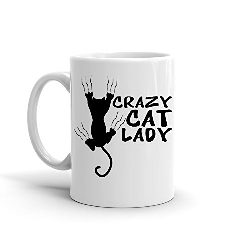 [Suck My Mug - Crazy Cat Lady, White Ceramic Coffee Mug, 11 ounce] (Things That Start With The Letter B)