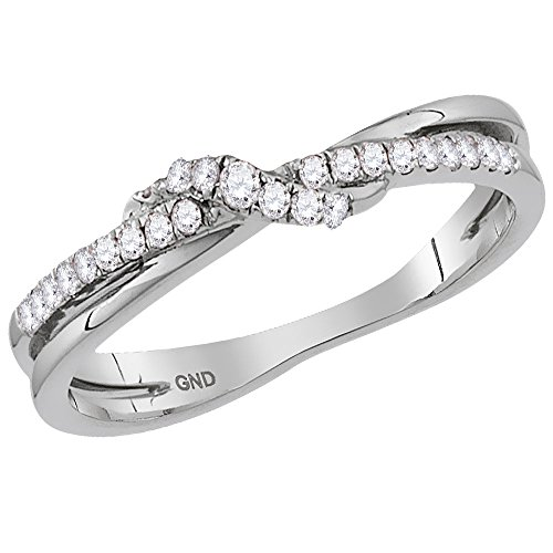 Pave Diamond Crossover (14kt White Gold Womens Round Diamond Crossover Stackable Band Ring 1/6 Cttw (I2-I3 clarity; H-I color))