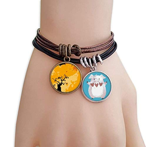 Tree Ghost Fear Halloween Corpse Bracelet Rope Wristband Pig Heart Love Set -