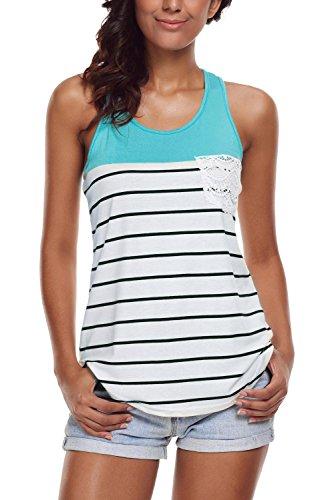 Tank Top Size Plus Racerback - FARYSAYS Women's Casual Color Block Striped Racerback Cami Tank Tops,(US 18-20)XXL,Blue