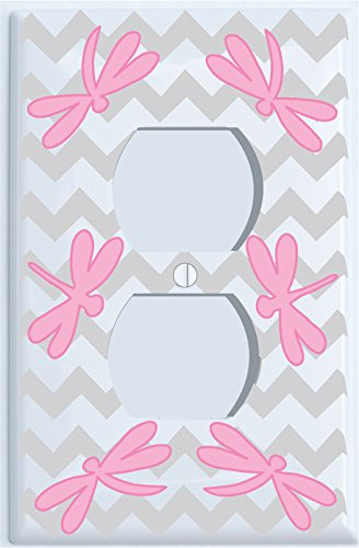 Pink Dragonfly Switch Plate Covers / Dragonfly Nursery Wall Decor (Outlet Cover)