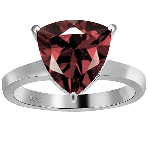 (Orchid Jewelry Trillion Cut Natural Garnet 925 Sterling Silver Ring for Women and Girls, January Birthstone, Perfect for Mother Day, Birthday, Box (3.30 Cttw, 10x10 MM))