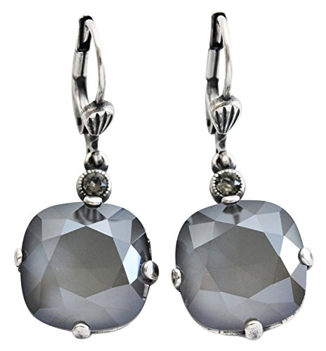 Gray Round Earring - Catherine Popesco Silvertone Crystal Round Earrings, Dark Gray Grey 6556