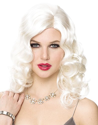 Wig Glam Platinum (Franco Retro Glam Womens Platinum 20's Wavy Costume Wig One)