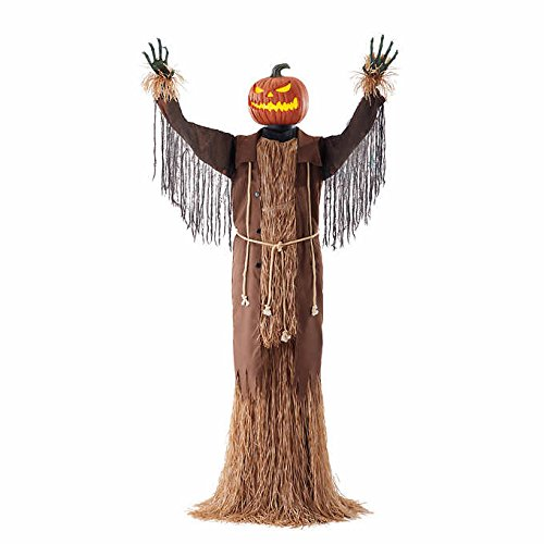 Motion Sensor Halloween Decoration Scarecrow Figurine Animated Pumpkin Harvester - Lights and Sounds - Head & Torso Turning Animation - English, French, Spanish, or Sounds Only - 90.5