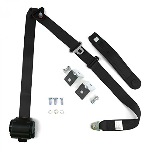 safeTboy 606700 Shoulder Seat Belt (Black Retractable Front Jeep CJ YJ Wrangler 82-95 3 Point 2PC)