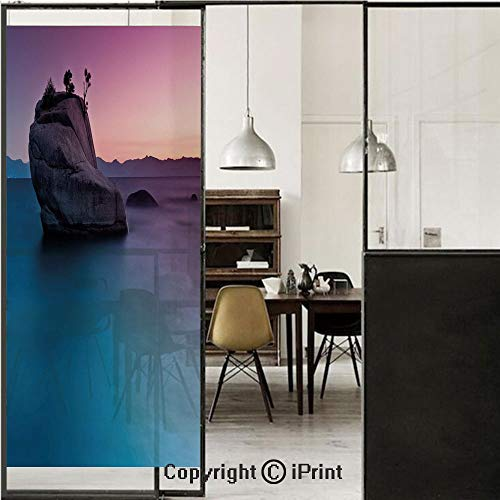 Nature 3D Decorative Film Privacy Window Film No Glue,Frosted Film Decorative,Bonsai Rock in Lake Tahoe Tropical Surreal Scenery Exotic Vivid Colors Artwork,for Home&Office,17.7x59Inch Purple Grey Blu (Tahoe Patio Furniture)