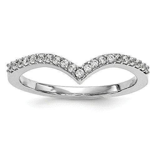 (Size 6 - Solid 14k White Gold Diamond V Ring (1.5mm) (1/6ct.))