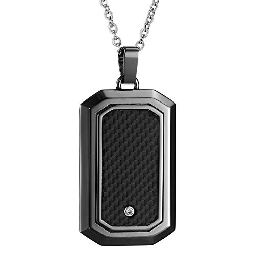 - Men's Stainless Steel Dog Tag with Carbon Fiber and Diamond Cable Chain Pendant Necklace, 22