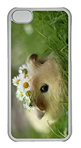 Customized iphone 5C PC Transparent Case - Hamster Flowers Cover