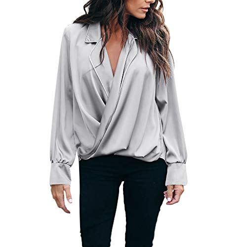 NCCIYAZ Womens Shirt Sexy Deep V-Neck Solid Long Sleeve Top Plus Size Ladies Daily Work Loose Blouse Oversized(2XL(14),Gray) ()