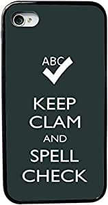 Rikki KnightTM Keep Clam and Spell Check Green Color Design iPhone 5 & 5s Case Cover (Black Rubber with bumper protection) for Apple iPhone 5 & 5s by icecream design