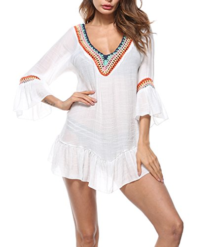 FAROOT Women's Bell Sleeve Vintage Casual Kimono Blouse Top Tassels Mini Dress Sexy V Neck Shirt (White) Mini Dress Kimono Top