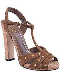 Women's Brown Suede Leather Open Toe High Heel Sandals Shoes