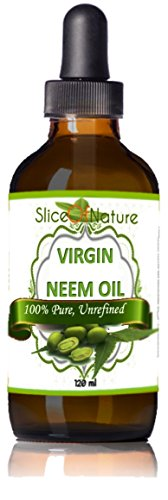 Slice Of Nature Virgin Neem oil Cold Pressed 100% Pure Concentrate - Anti-septic, Anti-bacterial, Anti-fungal Oil for Dandruff, Head Lice, Pet Fleas, Insect Repellant 4 oz (Flea Shampoo Lice)