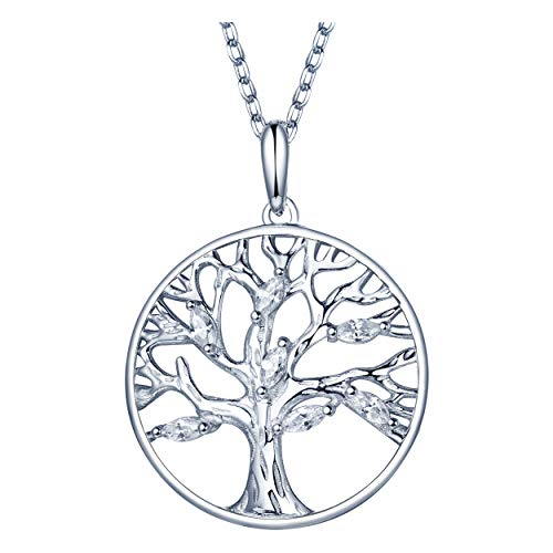 925 Sterling Silver Tree Of Life Pendant Charms Necklaces For Women Girls Long jewelry chain Christmas Gift
