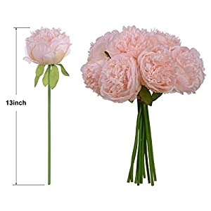 Nrpfell Vintage Peony Artificial Flowers - 2 Pack Silk Flowers Bouquet 10 Heads Peony Fake Flowers for Wedding Home Decoration 4