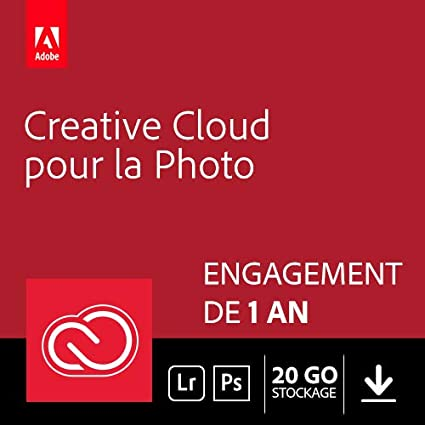 Adobe Creative Cloud Photographie 20 Go: Photoshop + Lightroom | 1 an | PC/Mac | Téléchargement