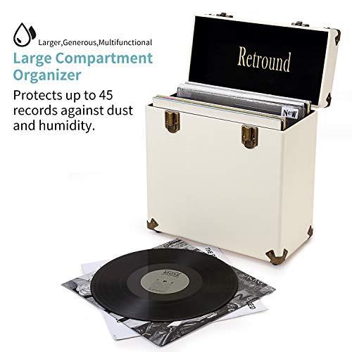 Retround Vintage Retro Vinyl Leather Record Holder Case, LP Storage Carrying Case for 78 rpm, 45 rpm, 33 rpm, Collections Storage Organizer Display Box-12 Inch (Cream)