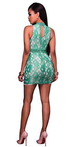 Finto Cubwear Pizzo Vestito Collo Bodycon Mini Benda Maniche Verde Floreale Senza Schienale Blansdi Senza Donne 1w0P55