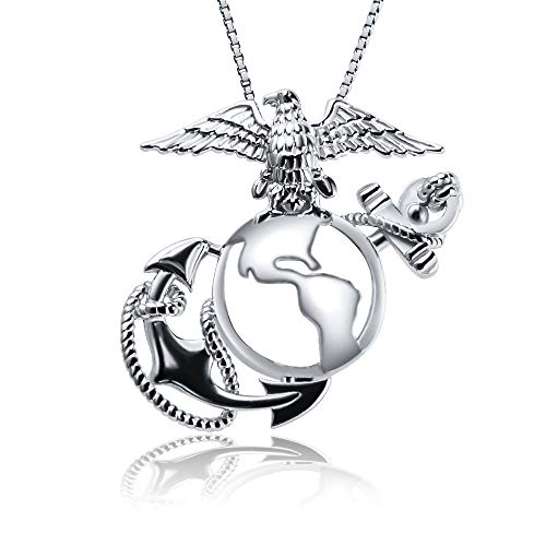 - AIM Jewelry 925 Sterling Silver Marine Corps Badge Cage Pendant Necklace, Medal Pendant Necklace