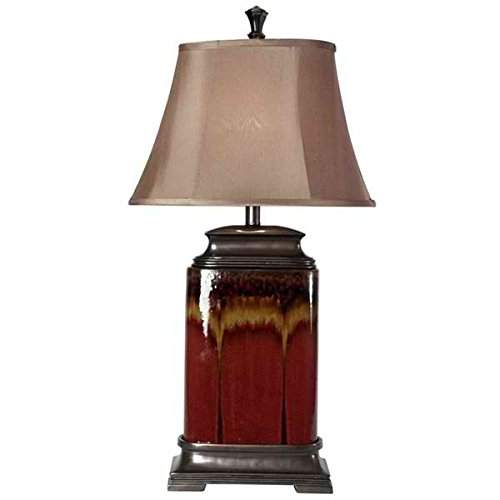 Table Lamp / Desk Lamp, Contemporary/Traditional Dripping Glaze Ceramic Table Lamp L3-1213 in Brown and Red