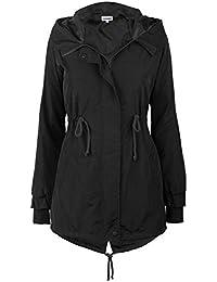 Women's Military Jacket Rain Trench with Hood