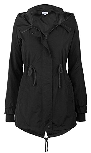 iLoveSIA Women's Military Trench rain Jacket with Hood Jacket Black US 8 Womens Jacket Coat