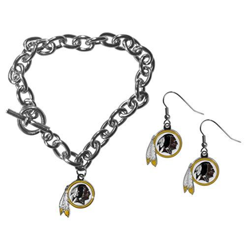 (Siskiyou NFL Washington Redskins Chain Bracelet & Dangle Earring Set)