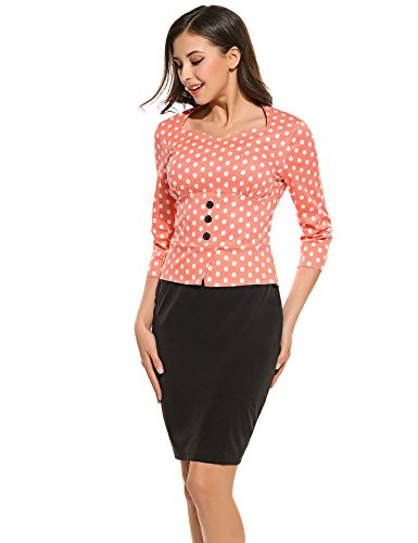 Dot Hotouch Work One Polka Wear Sleeve to Piece Business 3 Bodycon Dress Women's Pink 4 gccC1XUq
